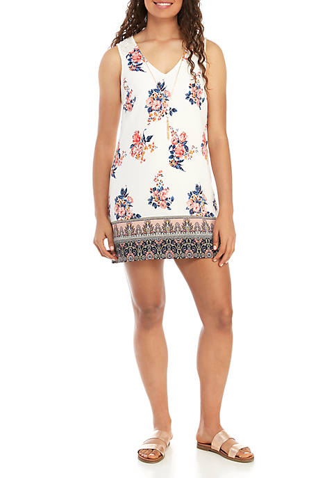 Sleeveless Printed Dress with Necklace