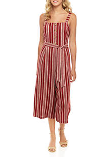 As U Wish Sleeveless Stripe Woven Jumpsuit