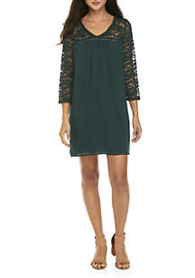 Lace Sleeve V-Neck Woven Dress