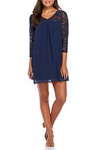 Lace Sleeve V-Neck Woven Dress