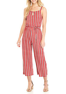 Tie Front Knit Stripe Jumpsuit
