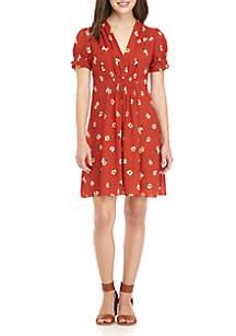 Smocked Sleeve Gathered Front Dress