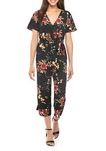 Short Sleeve Floral Wrap Crop Jumpsuit With Piping