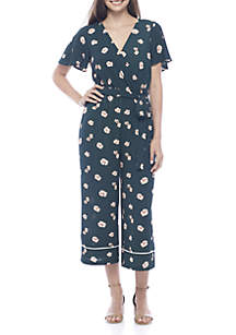 Short Sleeve Floral Cropped Jumpsuit With Piping