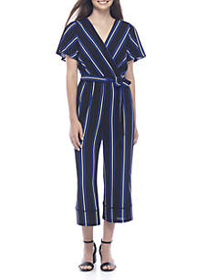 Short Sleeve Wrap Vertical Stripe Jumpsuit