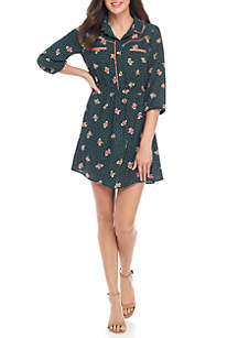 Piped Collar Floral Dress