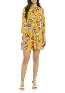 Twist Front 3/4 Sleeve Knit Dress