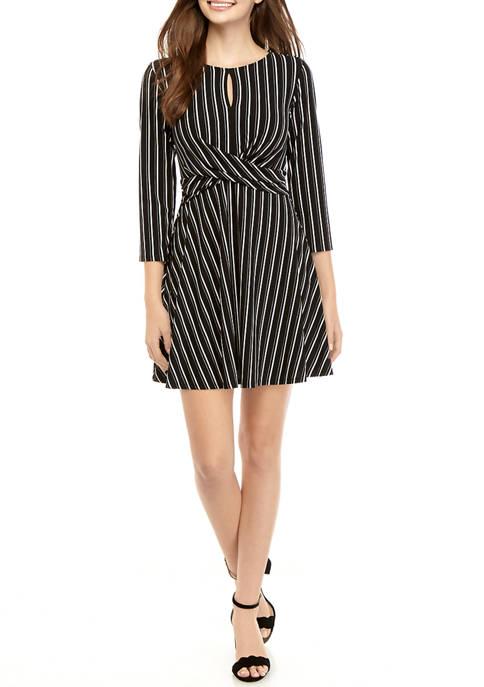 As U Wish Juniors Striped Twist Front Dress