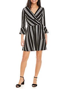 3/4 Sleeve Woven Striped Wrap Dress