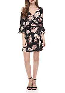3/4 Sleeve Floral Wrap Dress