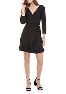 3/4 Sleeve Black Wrap Dress