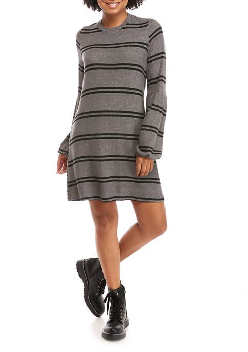 Juniors Hacci Volume Sleeve Stripe Dress