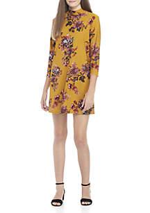 3/4 Sleeve Mockneck Printed Dress