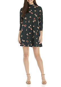 3/4 Sleeve Printed Mock Neck Dress