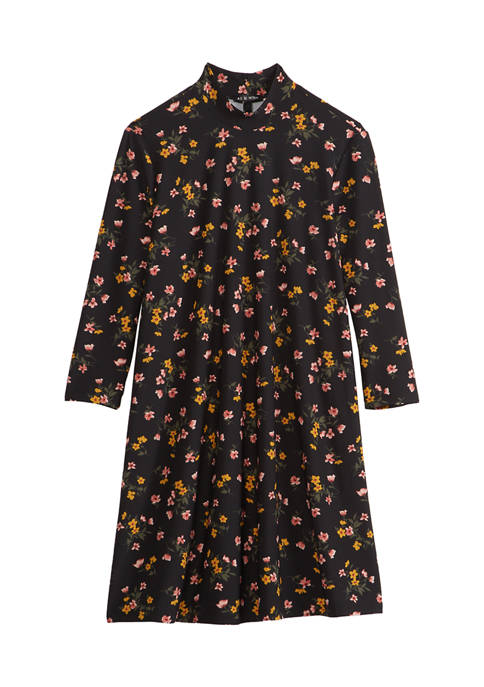 Juniors Printed Mock Neck 3/4 Sleeve Dress