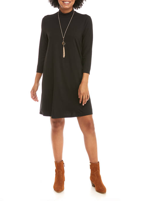 Juniors Mock Swing Dress with Necklace