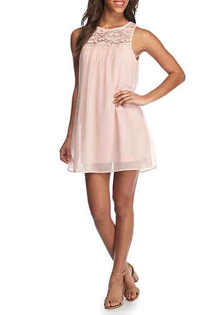 As U Wish Lace Top Swing Dress ...