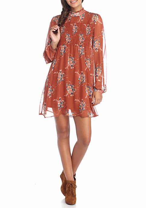 High Neck Smocked Floral Print Dress