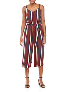 Spaghetti Strap Crop Vertical Stripe Jumpsuit