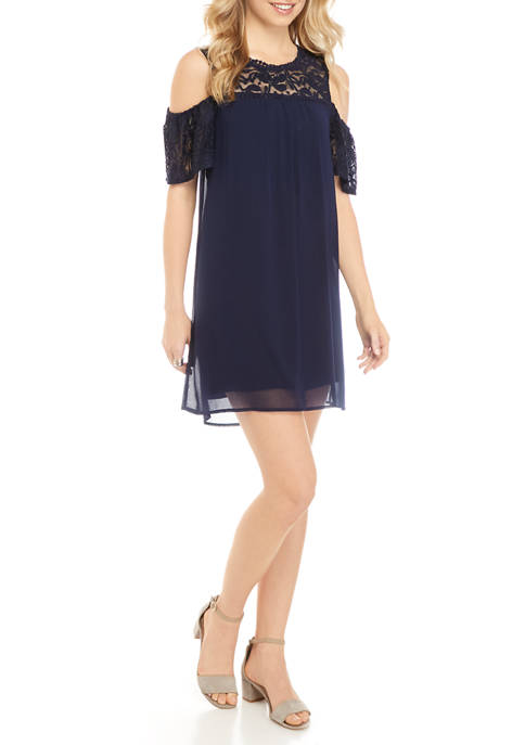 As U Wish Juniors Lace Trim Cold Shoulder