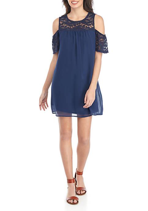 As U Wish Cold Shoulder Lace Trim Dress