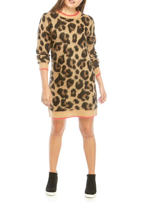 Lily White Juniors Long Sleeve Leopard Print Sweater