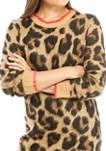 Juniors Long Sleeve Leopard Print Sweater Dress