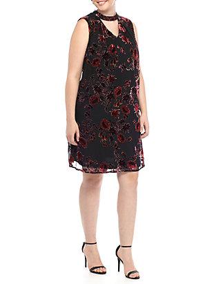 Luxology™ Plus Size Gigi V-Neck Flocked Floral Dress