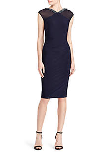 Beaded-Trim Jersey Dress