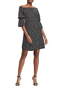 Off-the-Shoulder Dot-Print Crepe Dress