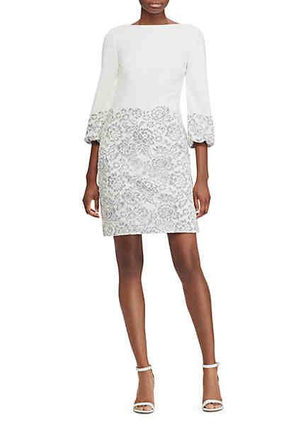 Lauren Ralph Lauren Lace-Overlay Crepe Dress ...