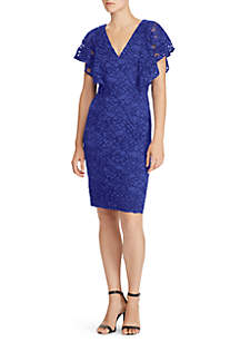 Yamla Lace V-Neck Ruffle Sleeve Dress
