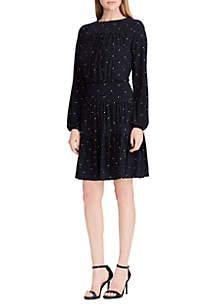 Long Sleeve Print Jersey Dress