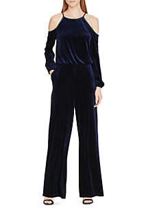 Velvet Cold-Shoulder Jumpsuit