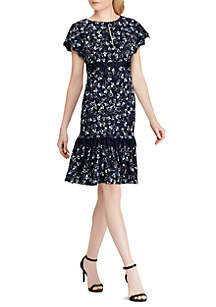 Short Sleeve Shyra Floral Bubble Crepe Dress with Trim