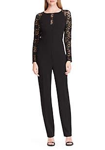 Jersey Lace-Sleeve Jumpsuit