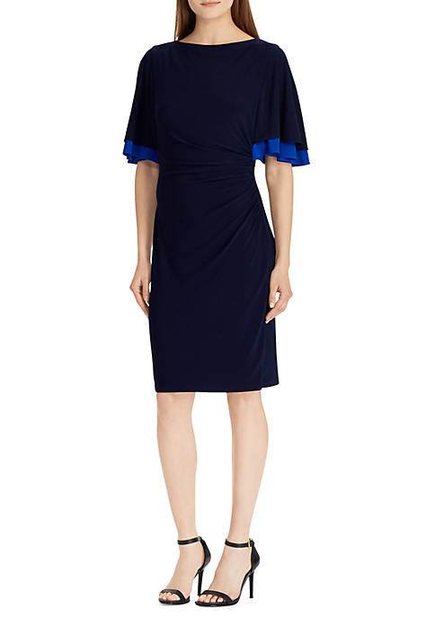 Lauren Ralph Lauren Three-Quarter 2-Tone Sleeve Kiani Dress
