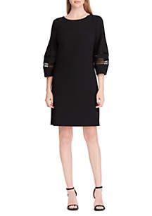 Lace-Trim Crepe Shift Dress