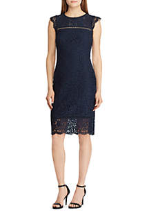 Short Sleeve Daryl Piazza Floral Lace Dress with Trim