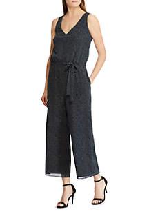 Short Sleeve Jacy Tie Waist Spaced Dot Jumper
