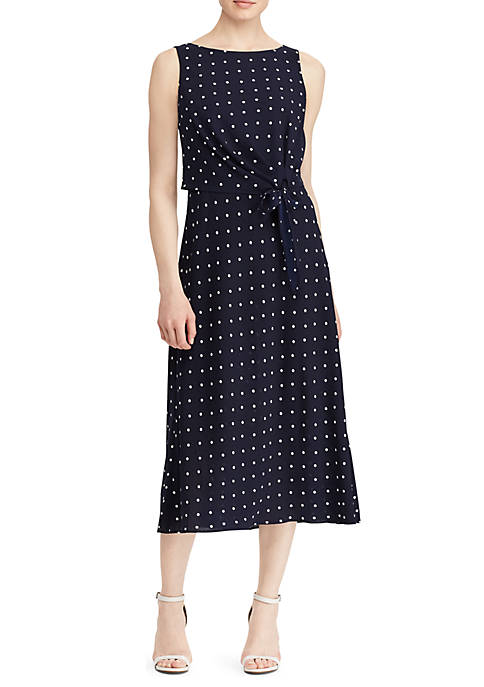 Lauren Ralph Lauren Polka Dot Crepe Midi Dress