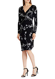 Floral-Print Ruched Jersey Dress