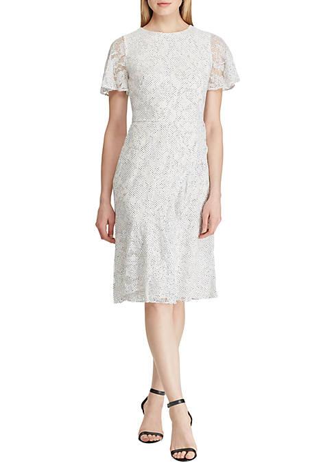 Ruffle-Trim Lace Dress