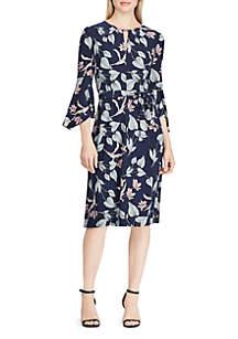 Floral Keyhole Jersey Dress