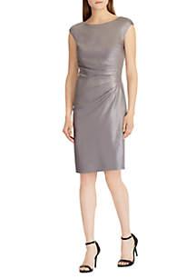 Metallic Crepe Sheath Dress