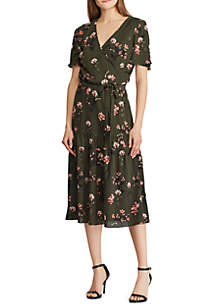 Short Sleeve Walina Floral Crepe Tie Waist Dress