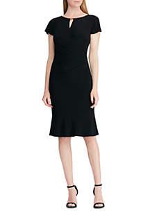 Short Sleeve Sanya Flutter Sleeve Trim Matte Jersey Dress