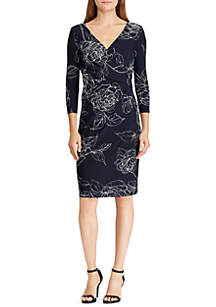 Floral-Print Surplice Jersey Dress