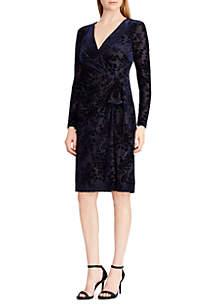 Flocked Velvet Wrap Dress