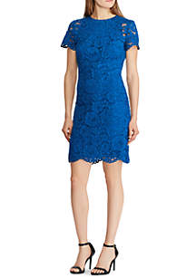 Short Sleeve Blondie Lac Scallop Trim Detail Dress